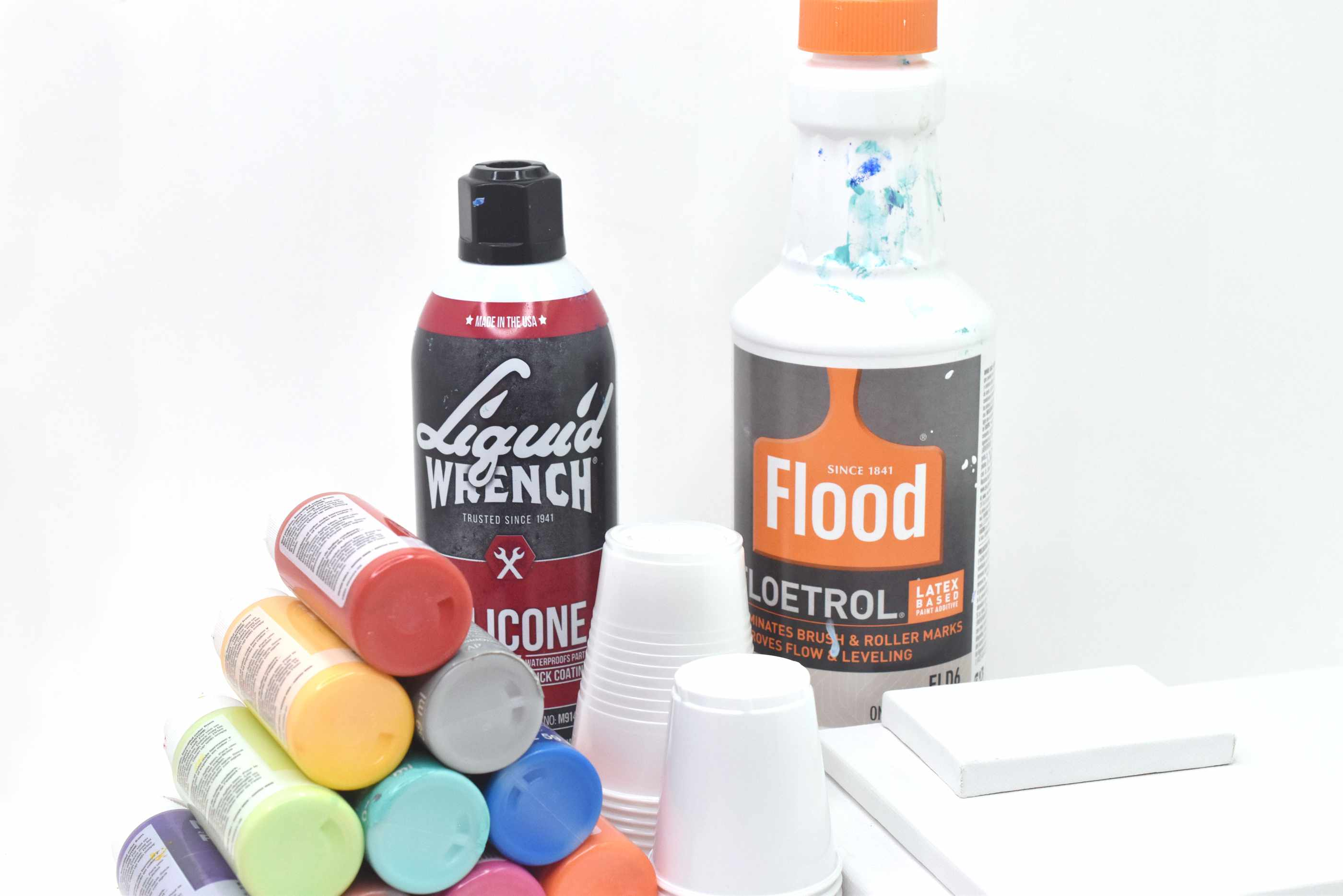 Supplies for pour painting