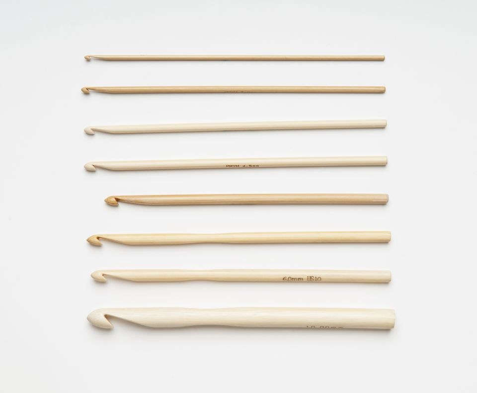 A selection of bamboo crochet hooks