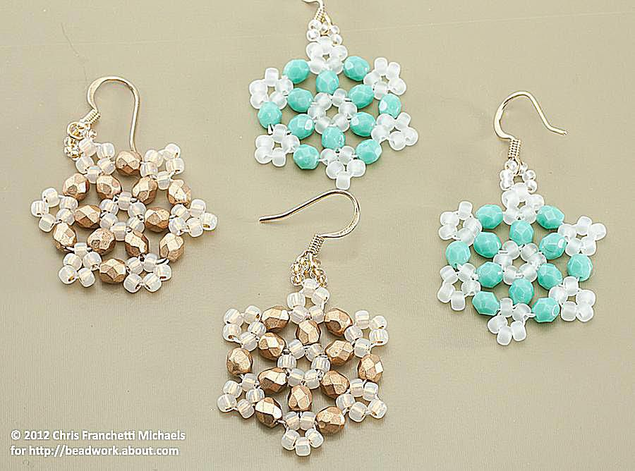 Crystal Beaded Snowflake Using Hexagon Angle Weave