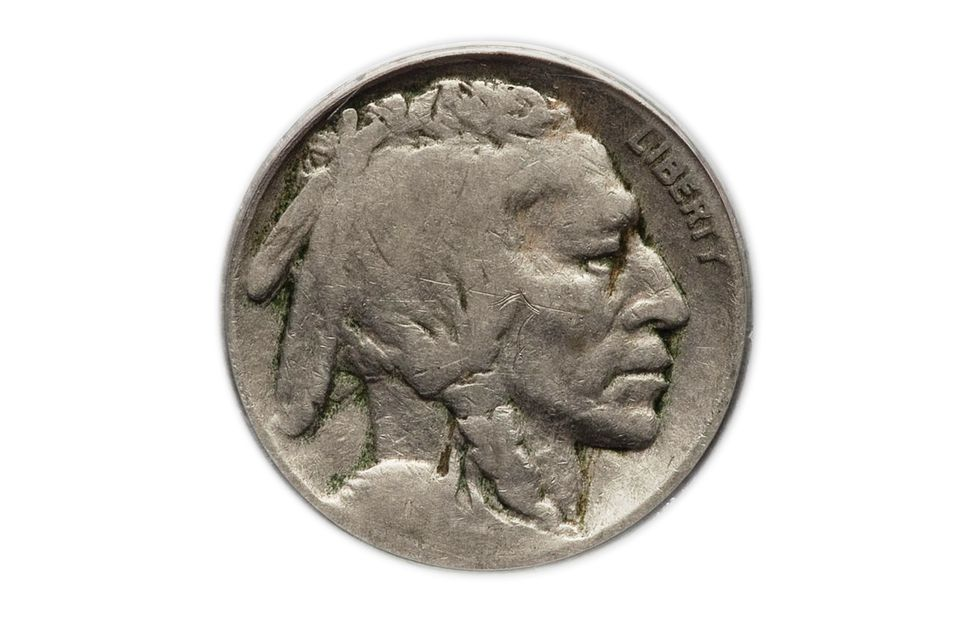 A Buffalo Nickel (Indian Head Nickel) With The Date Worn off