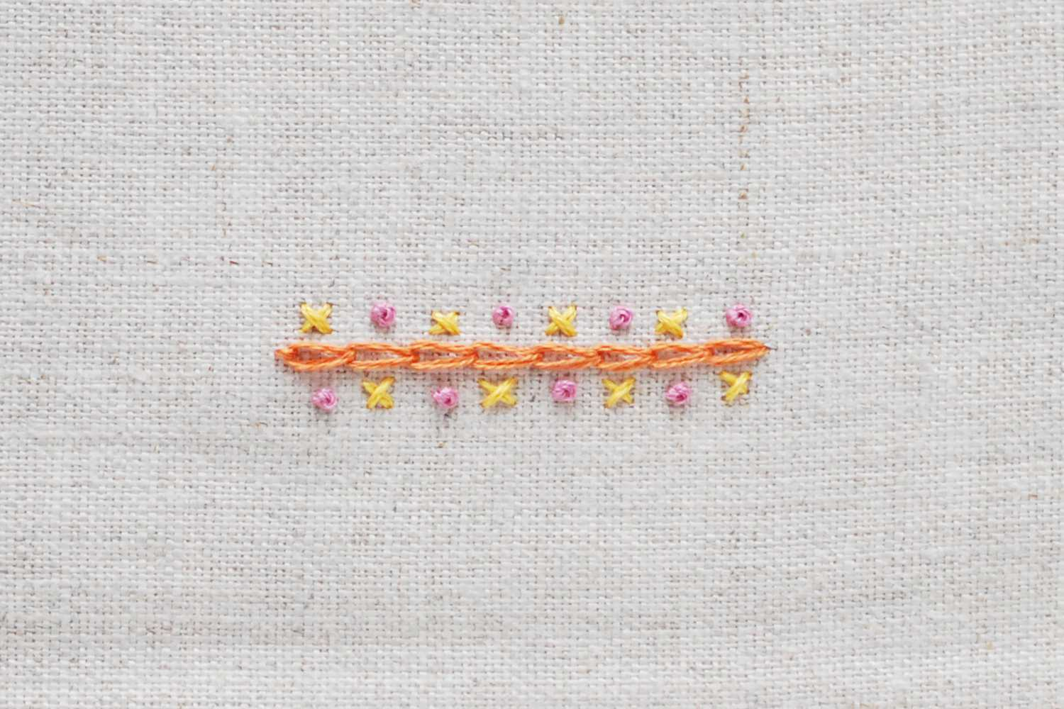 French Knots, Chain and Cross Stitches