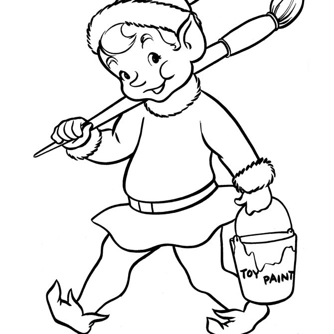 christmas coloring pages at free coloring pages an elf carrying a paint brush