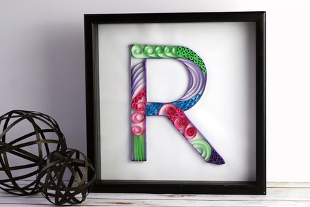 How to make a paper quilled monogram framed letter r quilled monogram altavistaventures Gallery