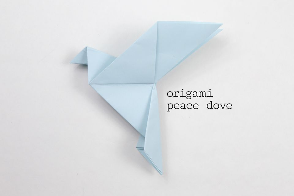 Completed origami peace dove