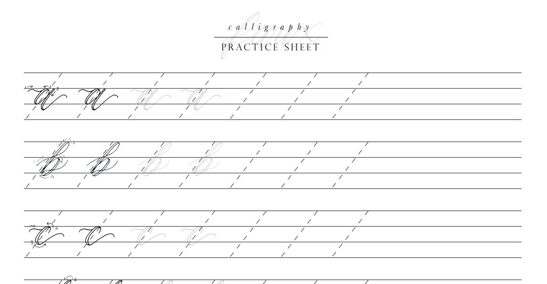 A calligraphy practice sheet