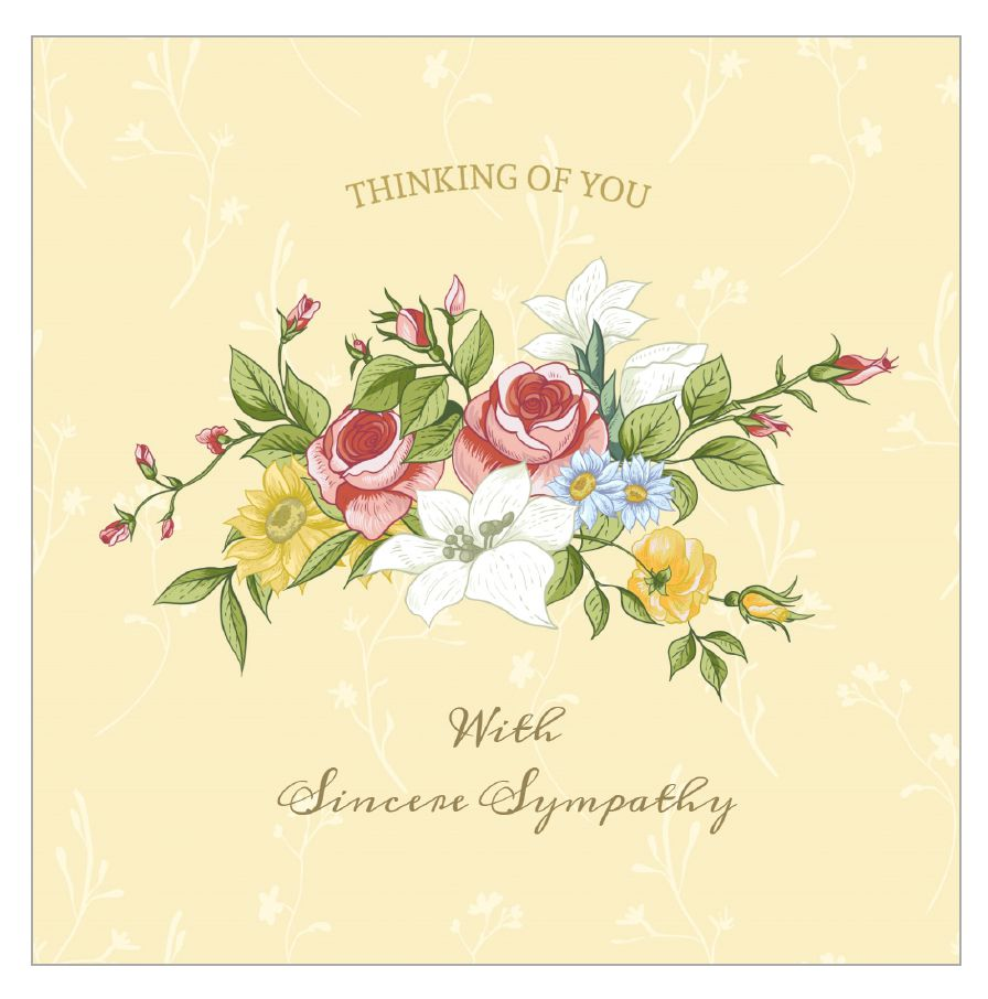 A sympathy card with a bouquet of flowers on it.