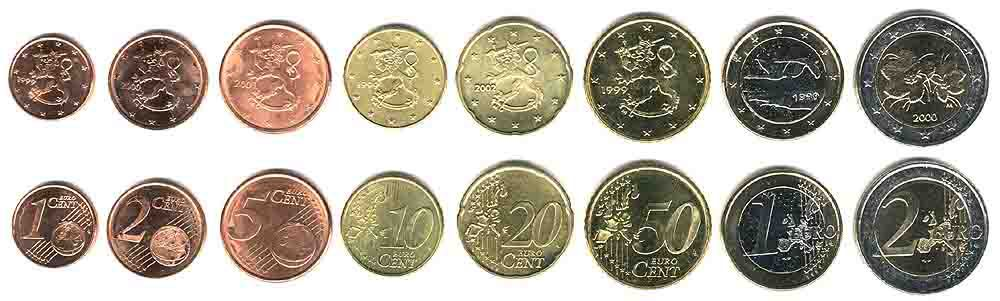 These coins are currently circulating in Finland as money.