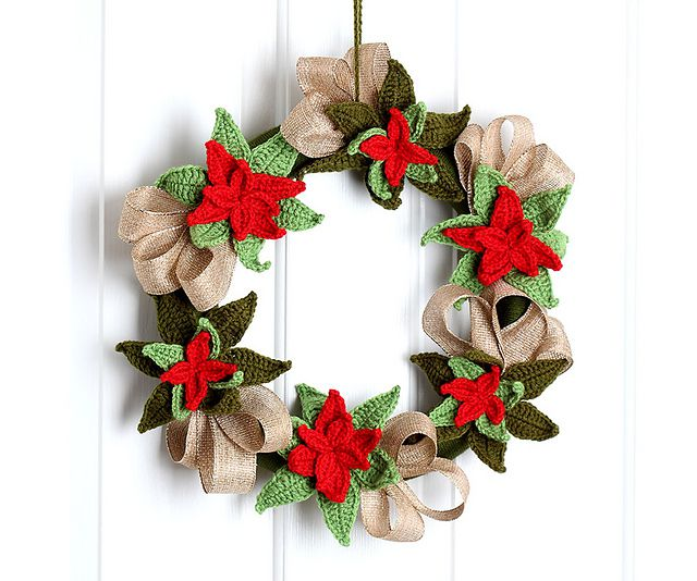 poinsettia crochet christmas wreath free pattern