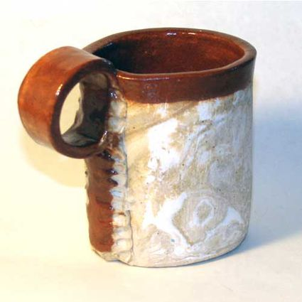 a slab-built pottery mug