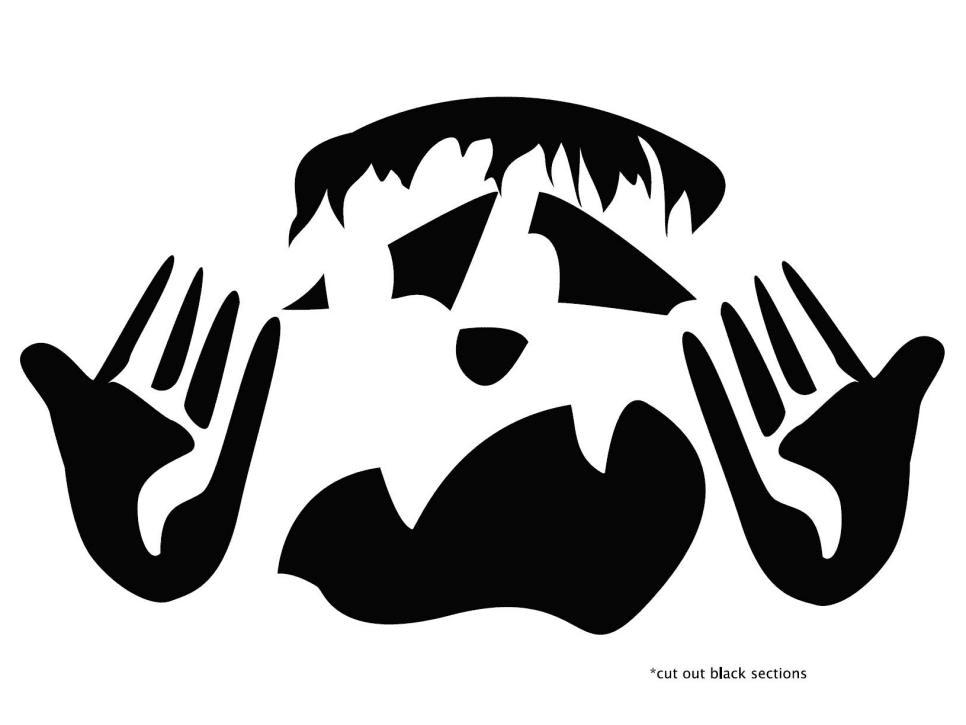 Frankenstein pumpkin carving pattern