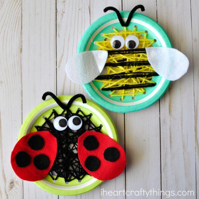 Yarn Sewn Paper Plate Bugs
