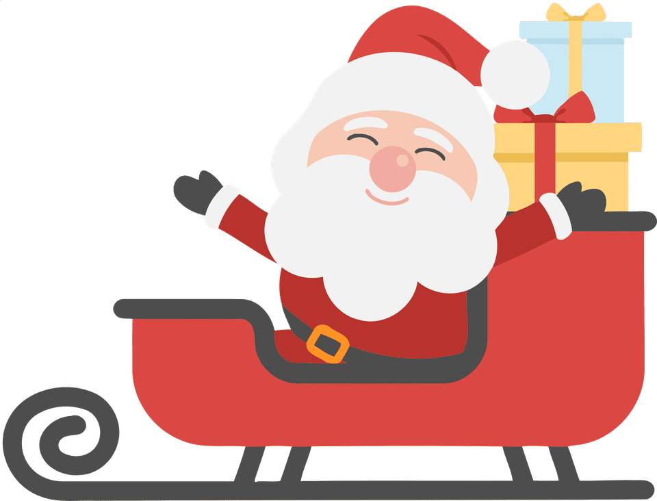 Santa on a sleigh full of gifts