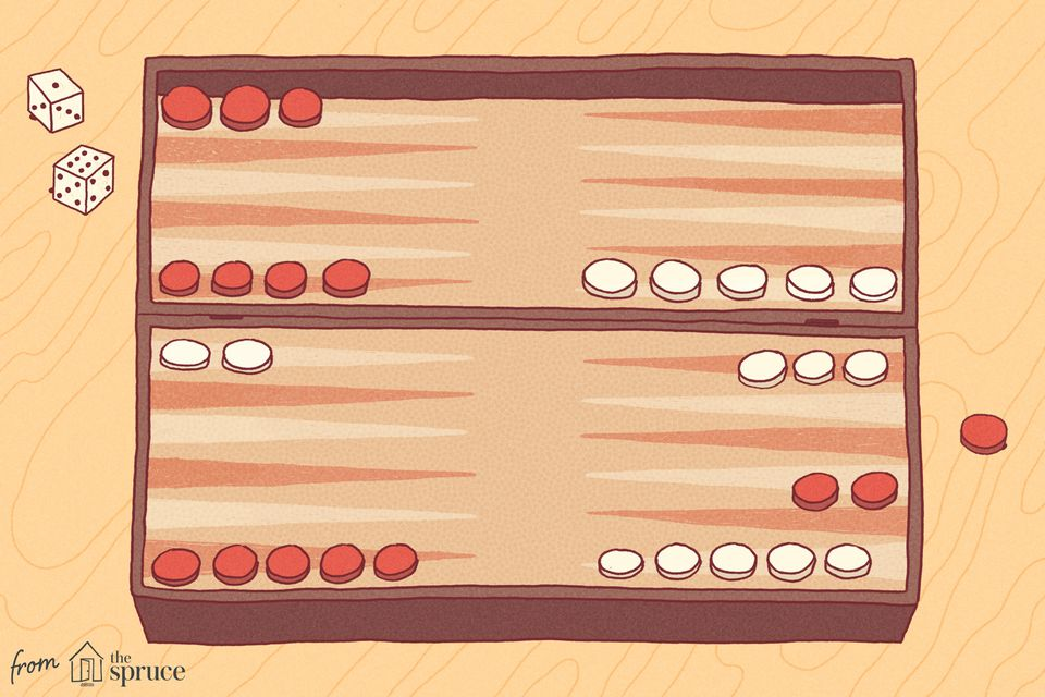 Illustration of a backgammon board with dice.