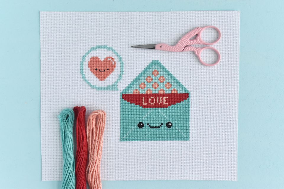 Kawaii Love Letter Valentine's Cross Stitch