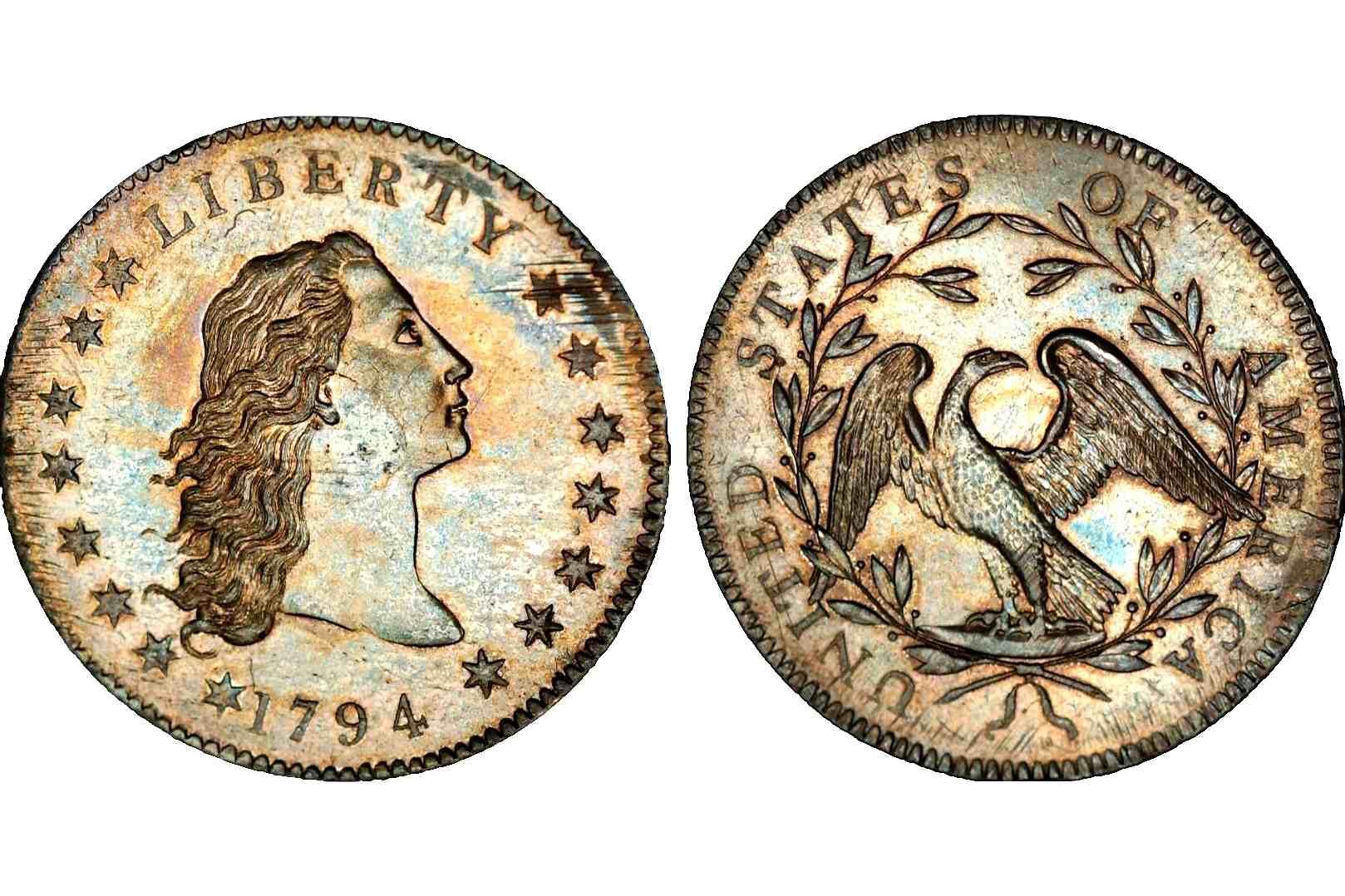 1794 Flowing Hair Silver Dollar with Silver Plug