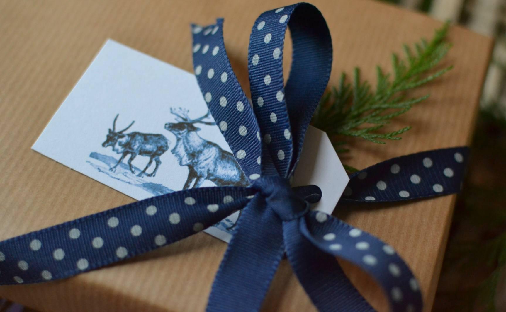 Animal gift tag with blue polka dot ribbon