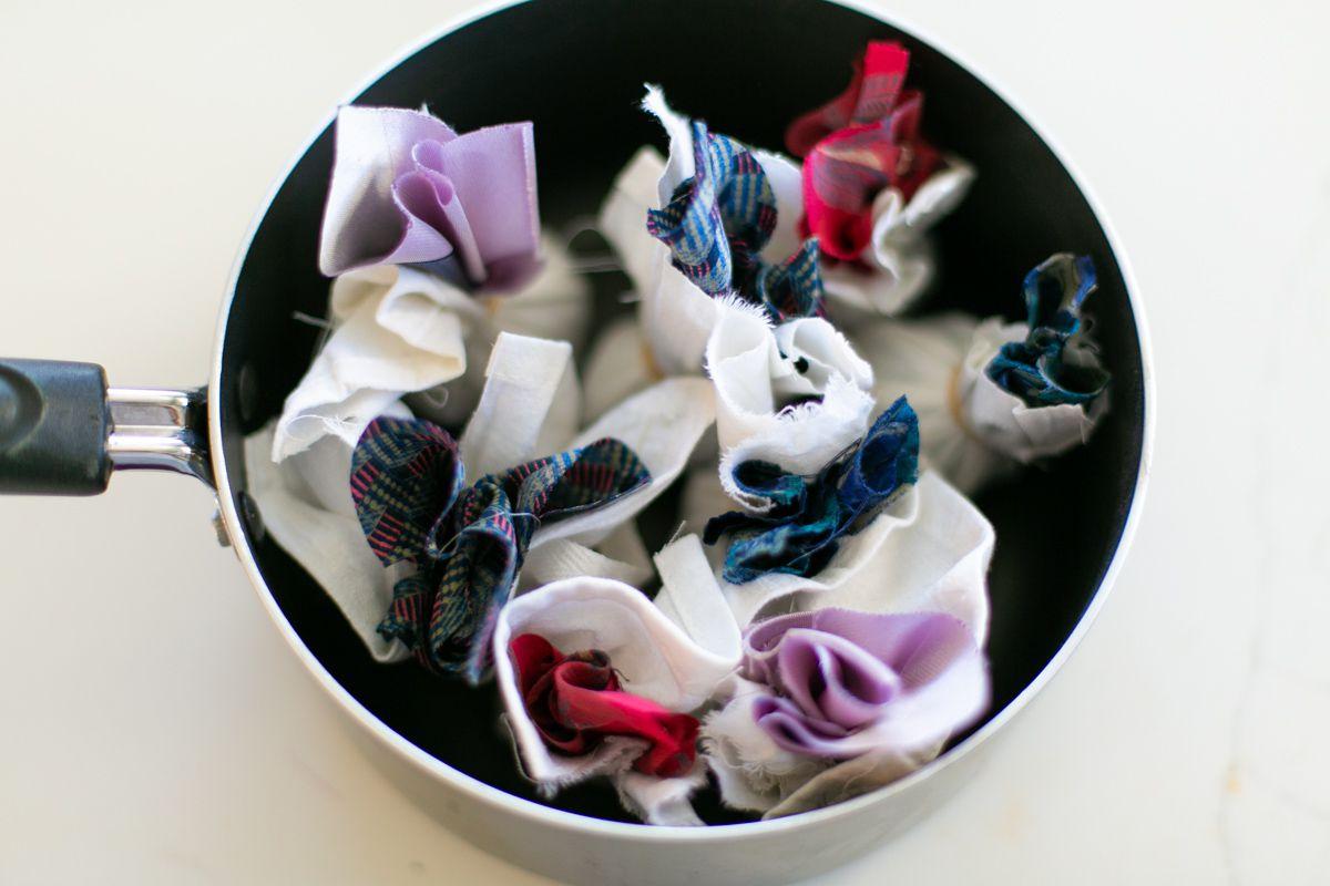 Silk dyeing Easter eggs