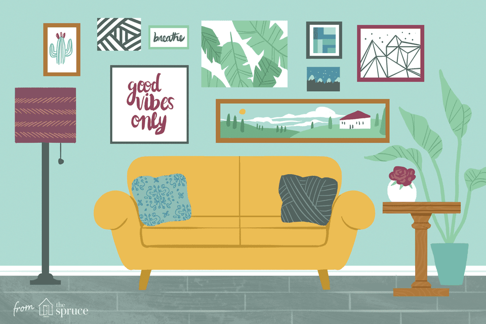 An illustration of a room that has several pieces of artwork hanging up behind a yellow couch