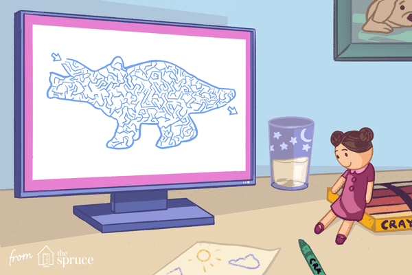 Illustration of triceratops maze on a computer screen in kids room