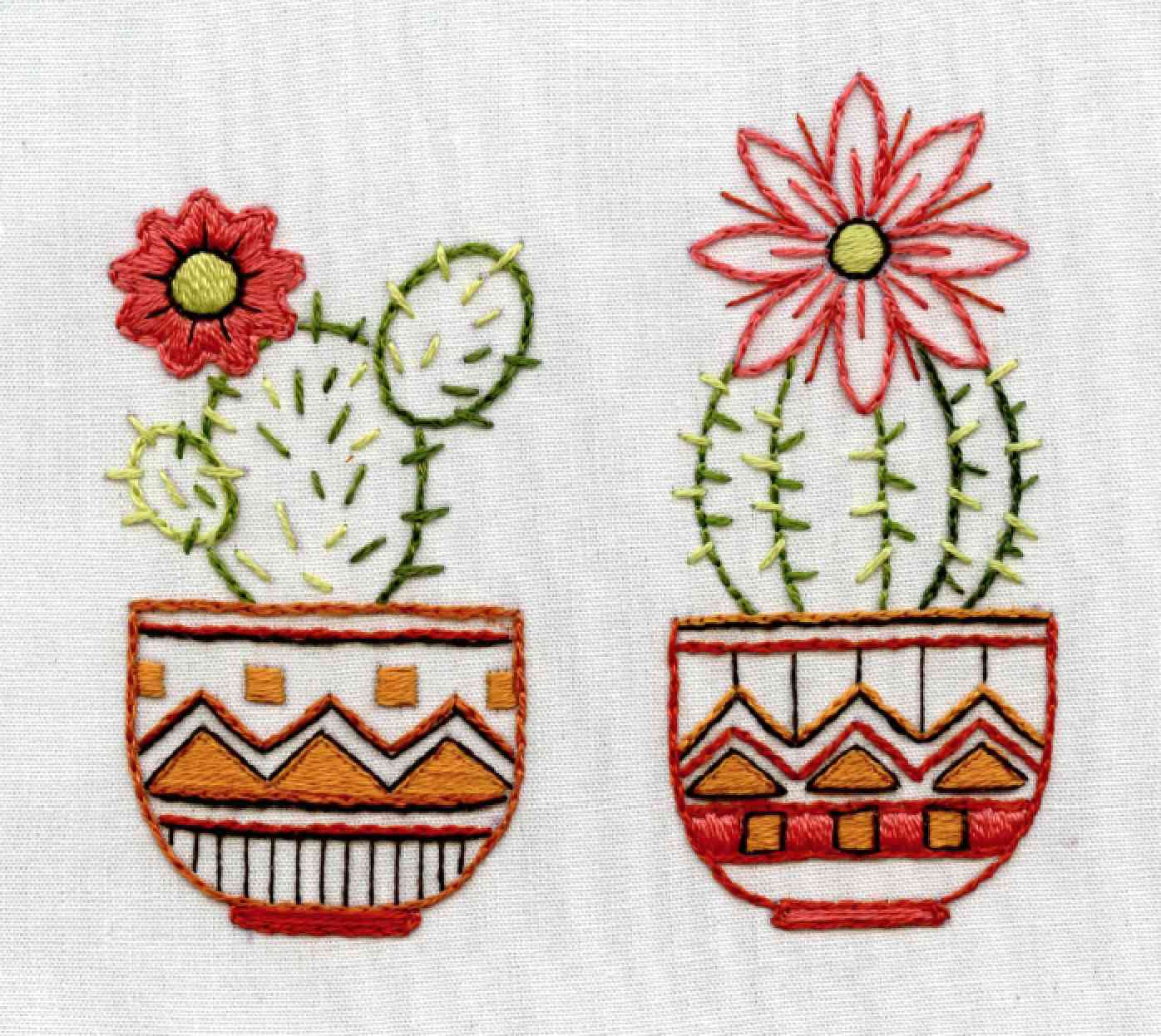 Cacti in Patterned Pots Embroidery Pattern