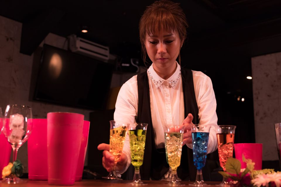 Bartender playing bar game