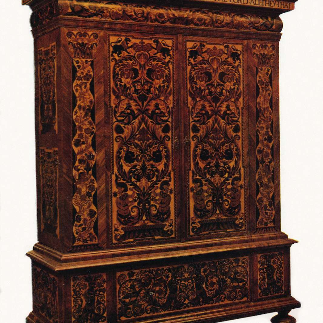A cabinet in the William and Mary style.