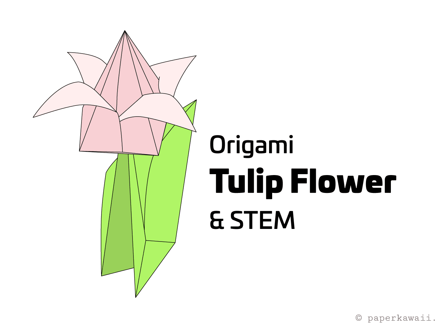 How to Make an Origami Tulip Flower & Stem | 1066x1421
