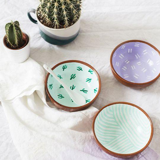 DIY Painted Cactus Snack Bowls