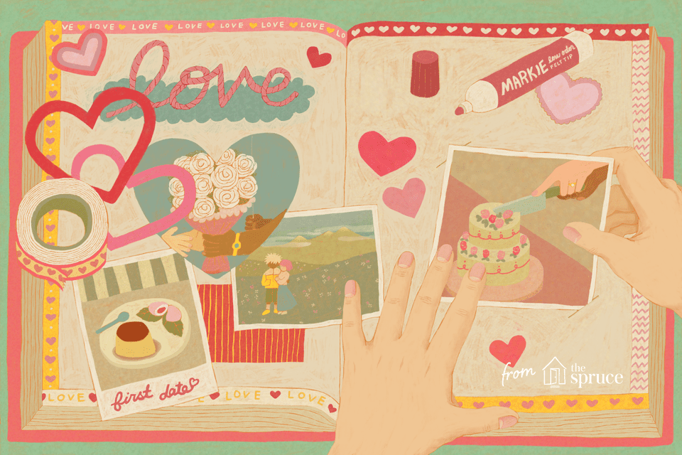 Illustration of person scrapbooking a