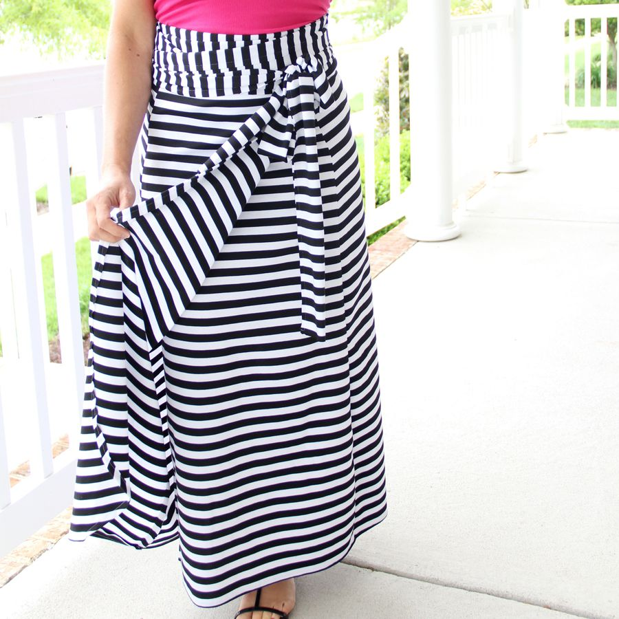 A black and white striped wrap skirt