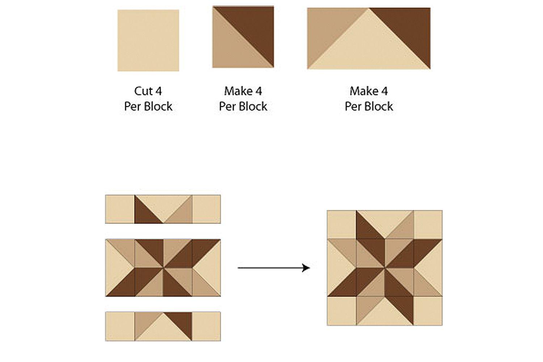 Assemble the Sarah's Choice Star Quilt Block