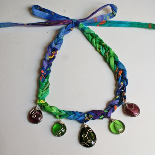 Crochet Necklace Pattern with Wire-Wrapped Pendants