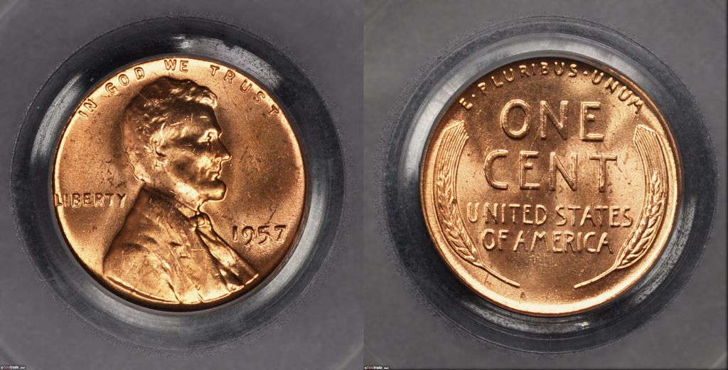 Lincoln Wheat Penny Graded Mint State-64 (MS64) Red