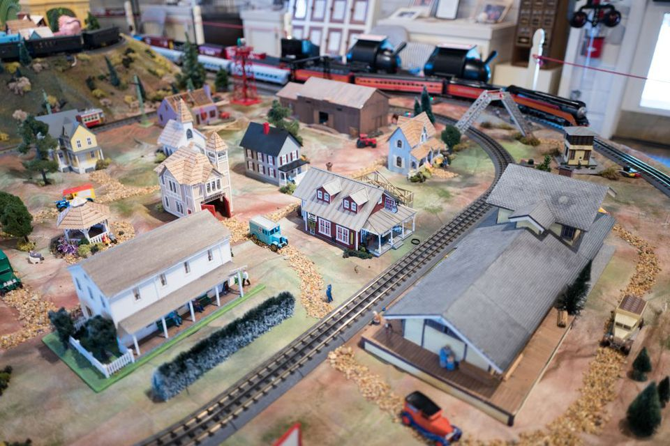 A painted model train set.