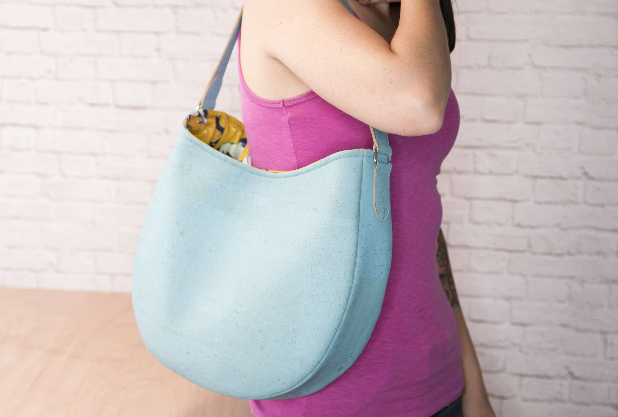 Easy Handmade Leather Hobo Bag Made in Blue Cork Fabric