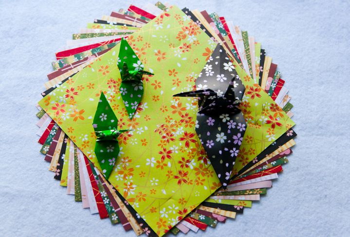 Japanese origami paper and cranes