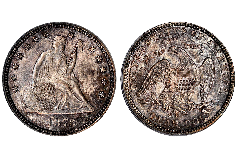 1873-CC Liberty Seated Quarter - No Arrows