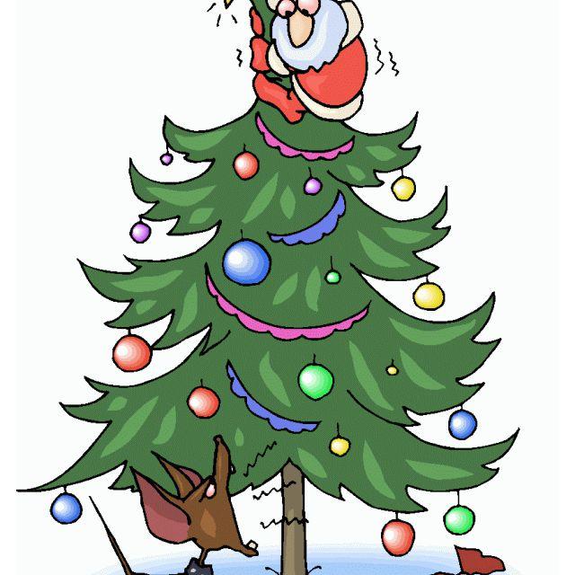 Santa climbing up a Christmas tree