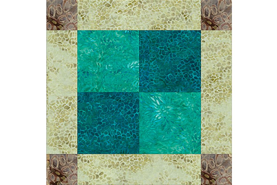 Batik Unequal Nine Patch Quilt Block
