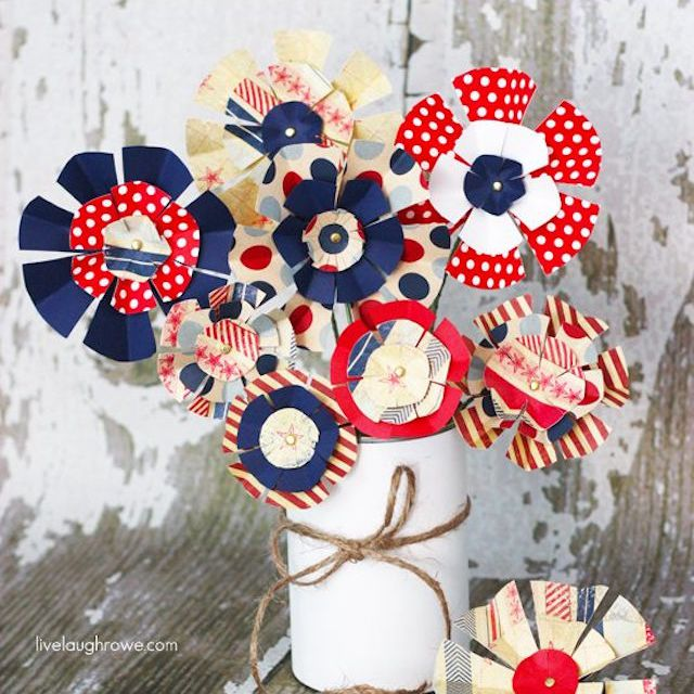 Red, White, and Blue Paper Flowers