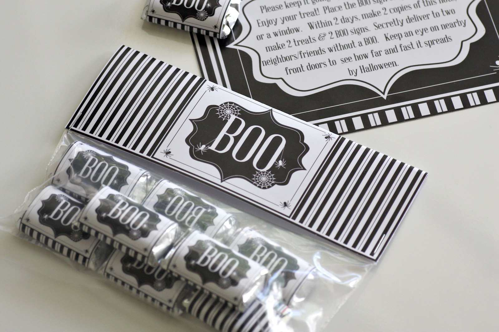 Black and white candy wrappers and gift bag