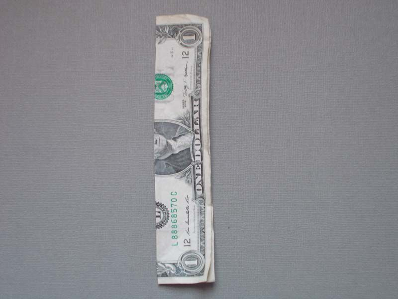 A dollar bill folded in half, stage one of an origami star