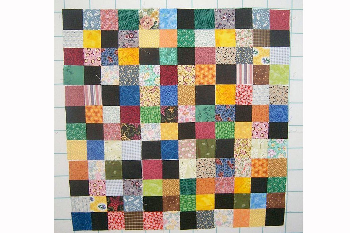 16 Patch Scrap Quilt Block Pattern