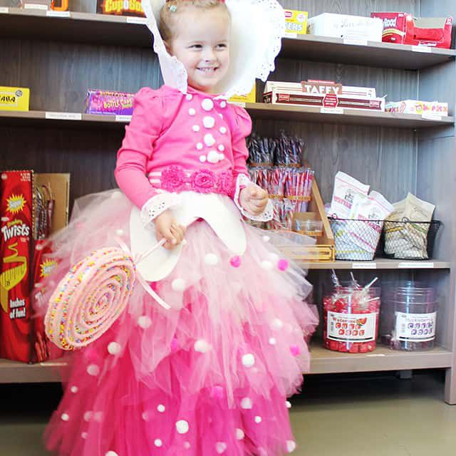 Child dressed in a pink princess costume