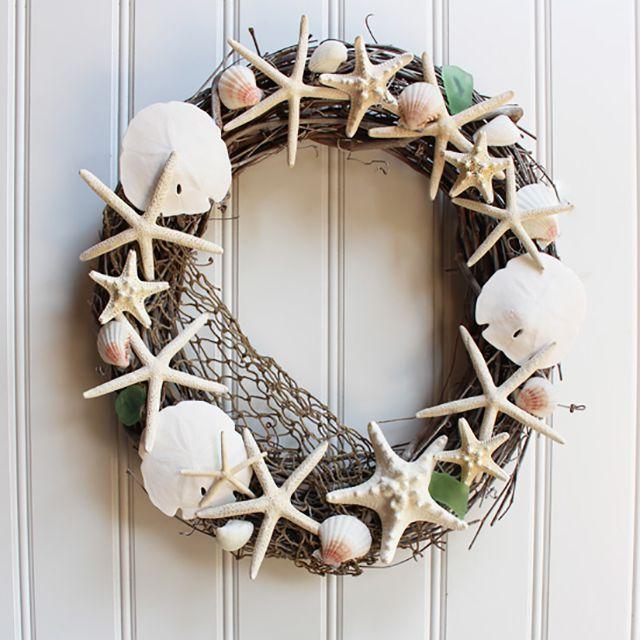 seashell wreath on a white wall