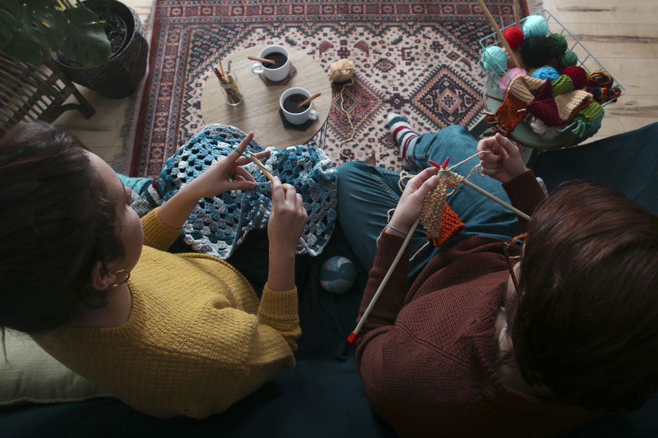 Knitting and Crocheting Couple