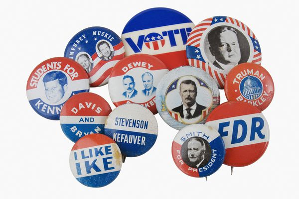 Close up of assorted presidential election pins.