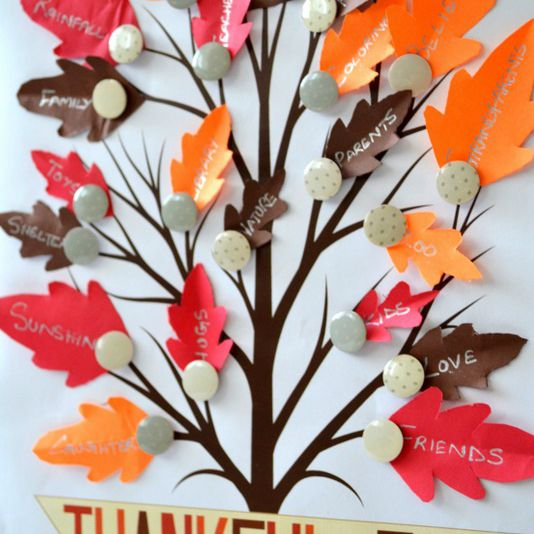 A printable tree with leaves listing what people are thankful for.