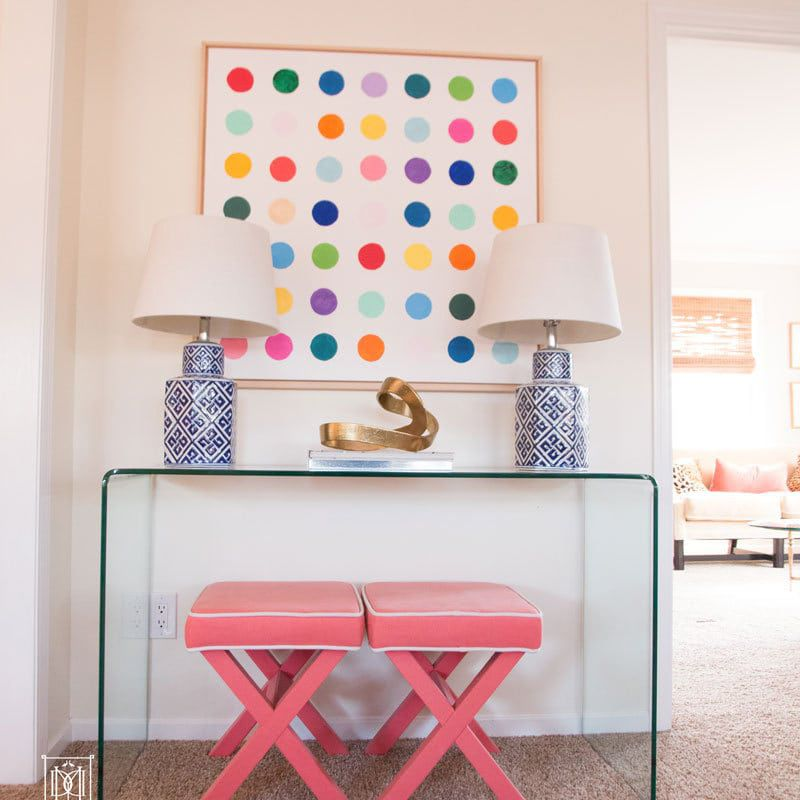 Colorful dotted canvas wall art.