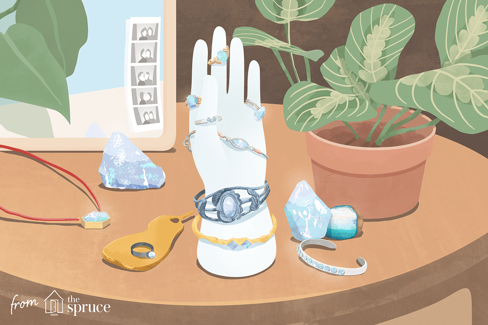 Illustration of opal jewelry on a table